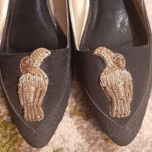 Chapter 13 black sparkly toucan embroidered flats